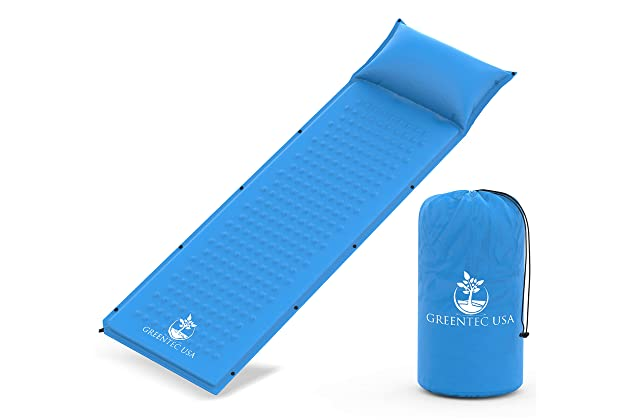 Works Perfectly With any Style Sleeping Bag Mummy Pad Lightweight Inflatable Foam Sleeping Mat for Camping and Durable Premium Self-Inflating Sleeping Pad Compact and Traveling Hiking
