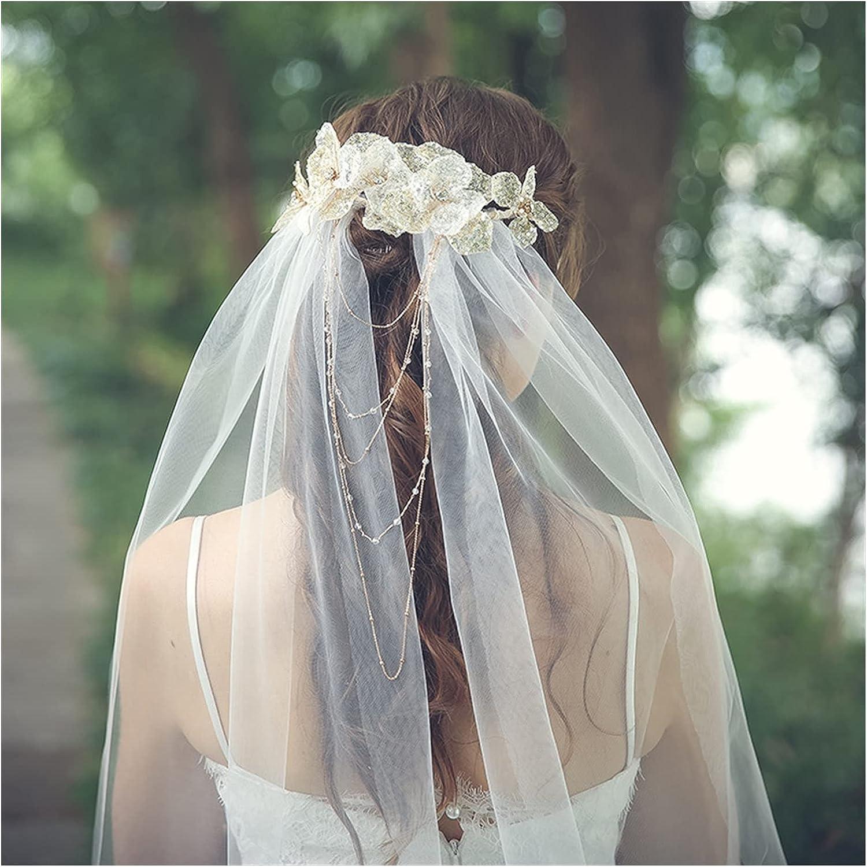 xunyang Handmade Sequins Flower Overseas parallel import regular item Bridal Whit Overseas parallel import regular item Headpiece with Veils