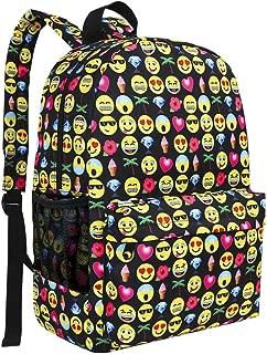 Zicac Canvas Emoji Backpack Smiling Face Satchel Printed Emoji