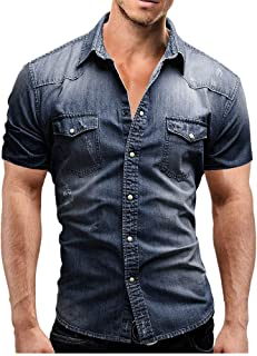 NOBRAND Jinyuan Fashion Men's Shirt Casual Men Slim Fit Button Denim Shirts Men Short Sleeve Tops Blouse with Pocket