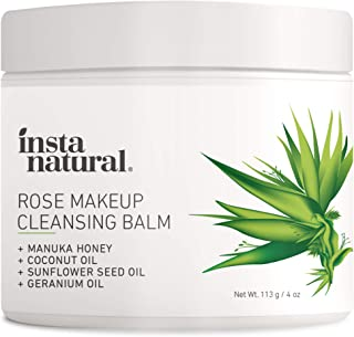 InstaNatural Rose Cleansing Balm – Natural Facial Cleanser Instantly Removes Waterproof Mascara & Face Makeup – Gently Double Cleanses and Purifies Skin - 4 oz