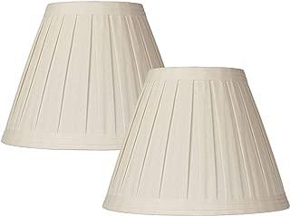 Set of 2 Creme Linen Box Pleat Lamp Shades 7x14x11 (Spider) - Springcrest