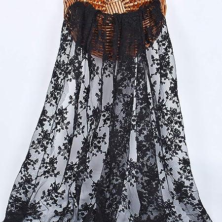 Rancheng 91cmx145cm Feuilles Brod/é Tissu au metre Lace Dentelle Maille Mat/ériel Broderie Couture Coudre Bricolage Robe de mari/ée Orange