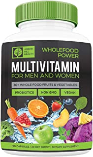 Wholefood Power Daily Multivitamins and Minerals for Women and Men: 90 Count - 30 plus Real Whole Food Fruits and Vegetabl...