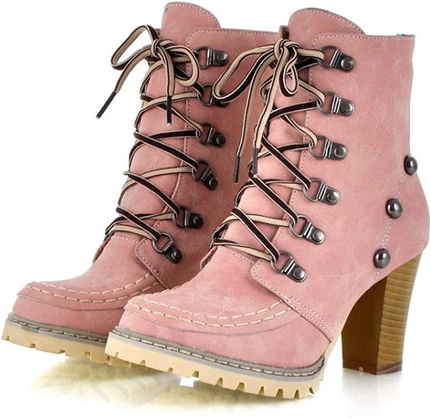 Womens Motorcycle Boots Winter Trendy Lace-up and Rivets Design Chunky High Heel Ankle Boots