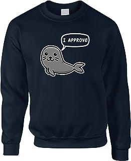 Novelty Animal Jumper Seal of Approval Pun Joke Sweatshirt - (Navy/Medium)
