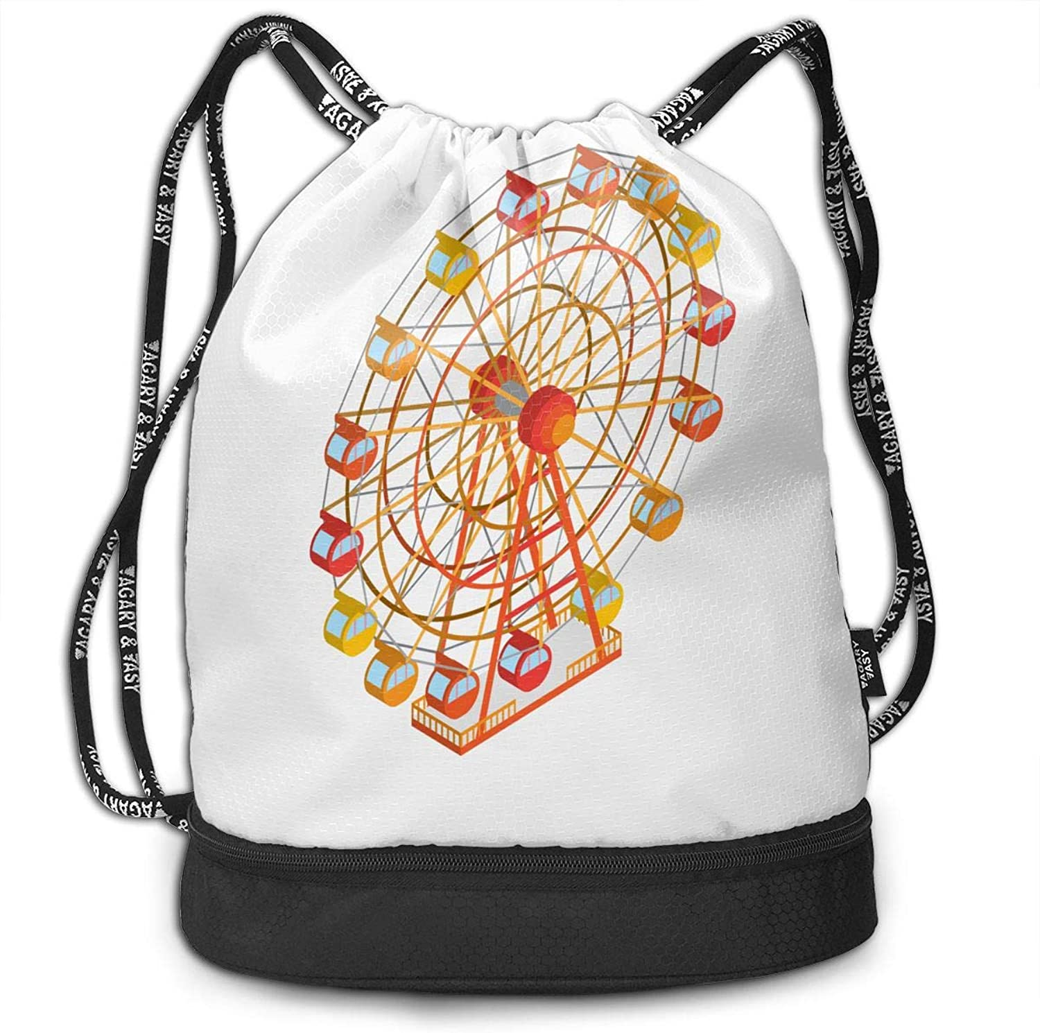 Gymsack Ferris Wheel Print Drawstring Bags  Simple Hiking Sack