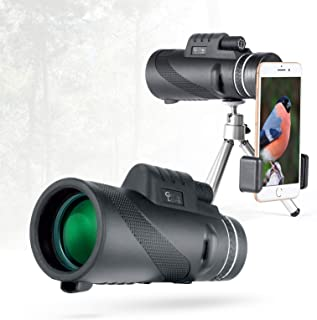Gift&Love Monocular Telescope 12x50 High Power Prism Monocular&HD Vision, Waterproof Monocular Scope with Compact Tripod,BAK4 Prism Monoculars, Compatible to Any Smartphone, Best for Outside Adventur