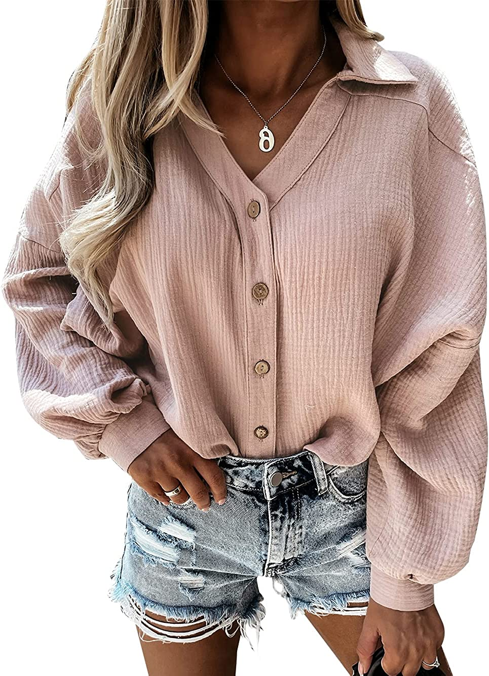TEMOFON Womens Long Sleeve Tunic Blouse Button Down Shirt Solid Color Casual V Neck Loose Fit Tops