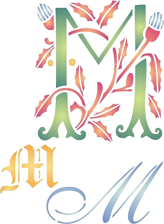Initiale M Schablone (Größe 17 x 22 cm) Wiederverwendbare Schablonen für Malerei – Beste Qualität Buchstabe Wall Art Decor Ideen – Verwendung auf Wände, Böden, Stoffe, Glas, Holz, Karten, und mehr... B0146RAPVQ |
