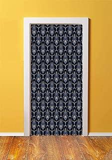 Dark Blue 3D Door Sticker Wall Decals Mural Wallpaper,Vintage Royal Damask Motifs Swirls Curvy Tile Victorian Fashion,DIY Art Home Decor Poster Decoration 30.3x78.5901,Dark Blue Light Blue White