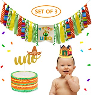 Fiesta Birthday Party Decorations Mexican 1st Birthday Highchair Banner Baby Boy Mini Uno Crown Glitter Cake Topper Set Cactus Taco Theme Cake Smash Photo Prop Cinco de Mayo Party Supplies