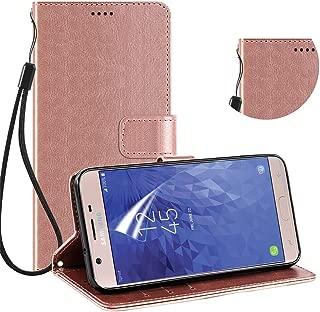 Galaxy for J3 Star Case,J3 2018/J3 Achieve/J3 Orbit/J3 V 3rd Gen/Express Prime 3/Amp Prime 3/Sol 3/J3 Top/J3 Aura Case Wallet, w/Screen Protector,Kickstand Card Slots PU Leather Phone Case(Rose Gold)