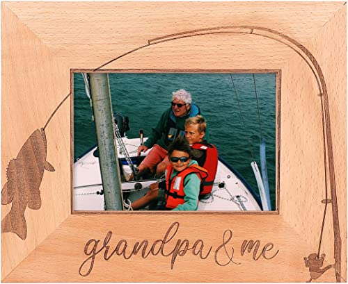 wholesale GSM Brands Grandpa and Me Wooden Picture Frame online sale - Fishing Theme (Holds 5 x 7 Inch Photo) 2021 (9 x 11 Inch Overall Size) online sale