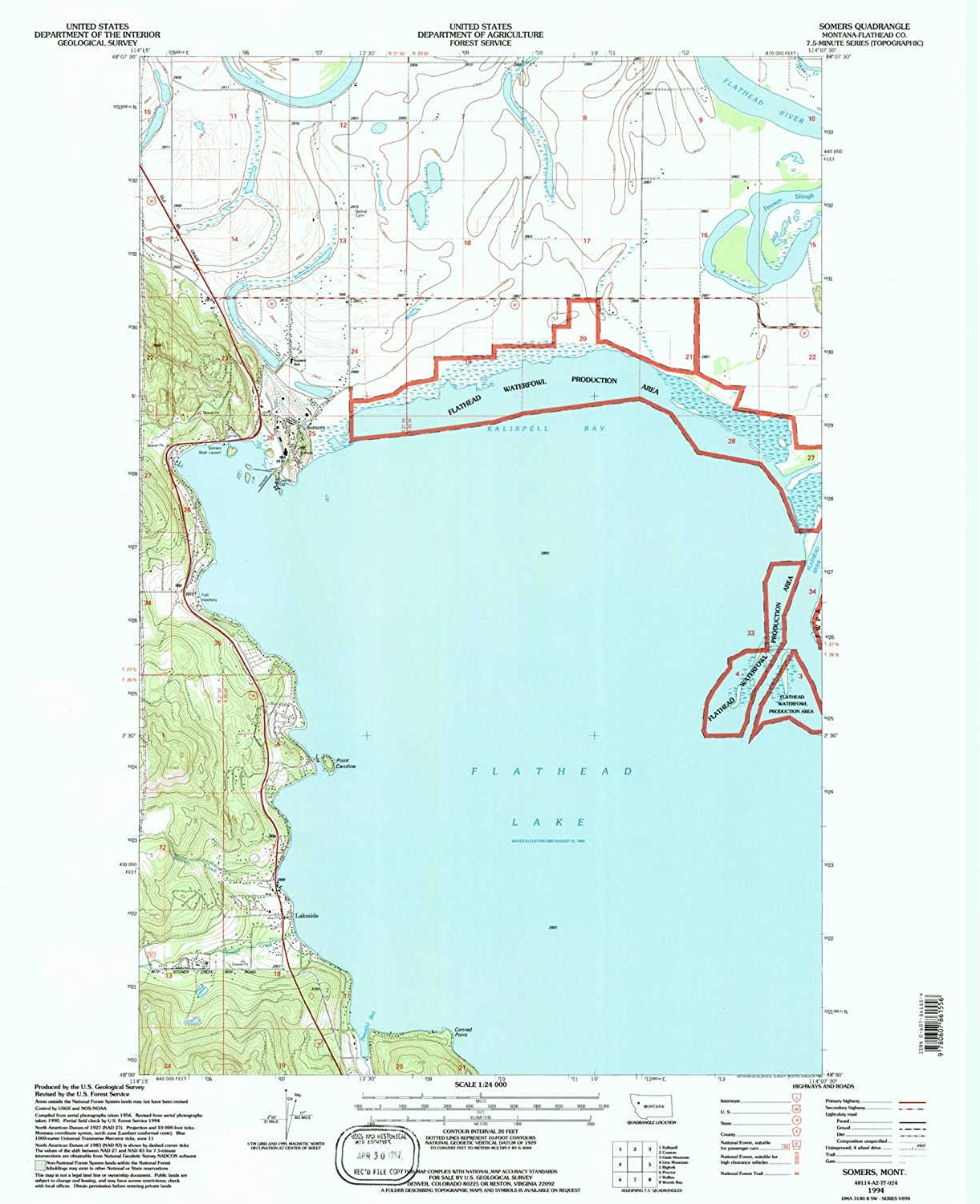 Somers MT topo map, 1 24000 Scale, 7.5 X 7.5 Minute, Historical, 1994, Updated 1995, 27.2 x 22.1 in