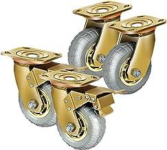 4 stks Meubilair Casters Industrial Gold Heavy Duty Rubber Swivel Wielen Remwielen Meubelwagen Transport Wiel (Color : E, ...