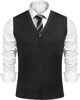Aibrou Men's V-Neck Button Front Sweater Vest with Twist Cable
