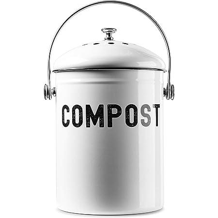 EPICA Compost Bin 1.3 Gallon-Includes Charcoal Filter (White)