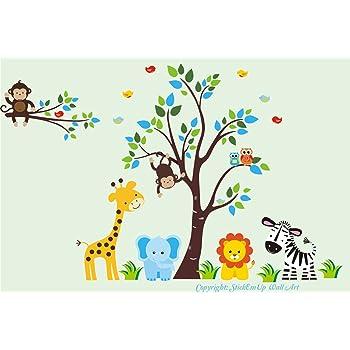 Amazon.com: Baby Room Wall Decals - Kids Room Wall Stickers - Jungle Animal Wall Decals - Safari Animal Wall Stickers - Baby Room Furniture - Baby Stuff - Nursery Wall Art: Baby
