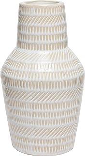 Hosley 9 Inch High Mid Century Modern Cream Ceramic Bottle Vase Ideal Gift for Weddings Party Spa Reiki Meditation Setting...