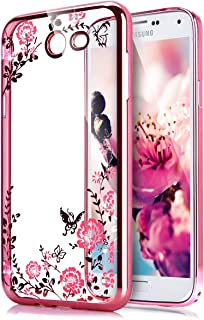 Galaxy J7 V / J7 2017 / J7 Prime / J7 Perx / J7 Sky Pro/Galaxy Halo Case,ikasus Pink Butterfly Flower Bling Diamonds Clear...