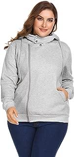 Womens Plus Size Asymmetrical Zip-up Hoodie Jacket Pullover Casual Classic Sweatshirt