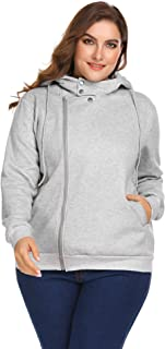 IN'VOLAND Involand Womens Plus Size Women Asymmetrical Zip-up Hoodie Jacket Pullover Sweatshirt