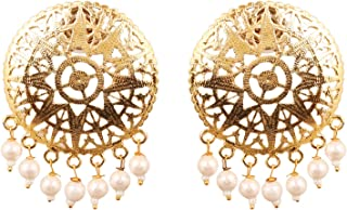Touchstone Indian Bollywood pretty embossing work light weight traditional white pearls bunches designer jewelry earrings ...