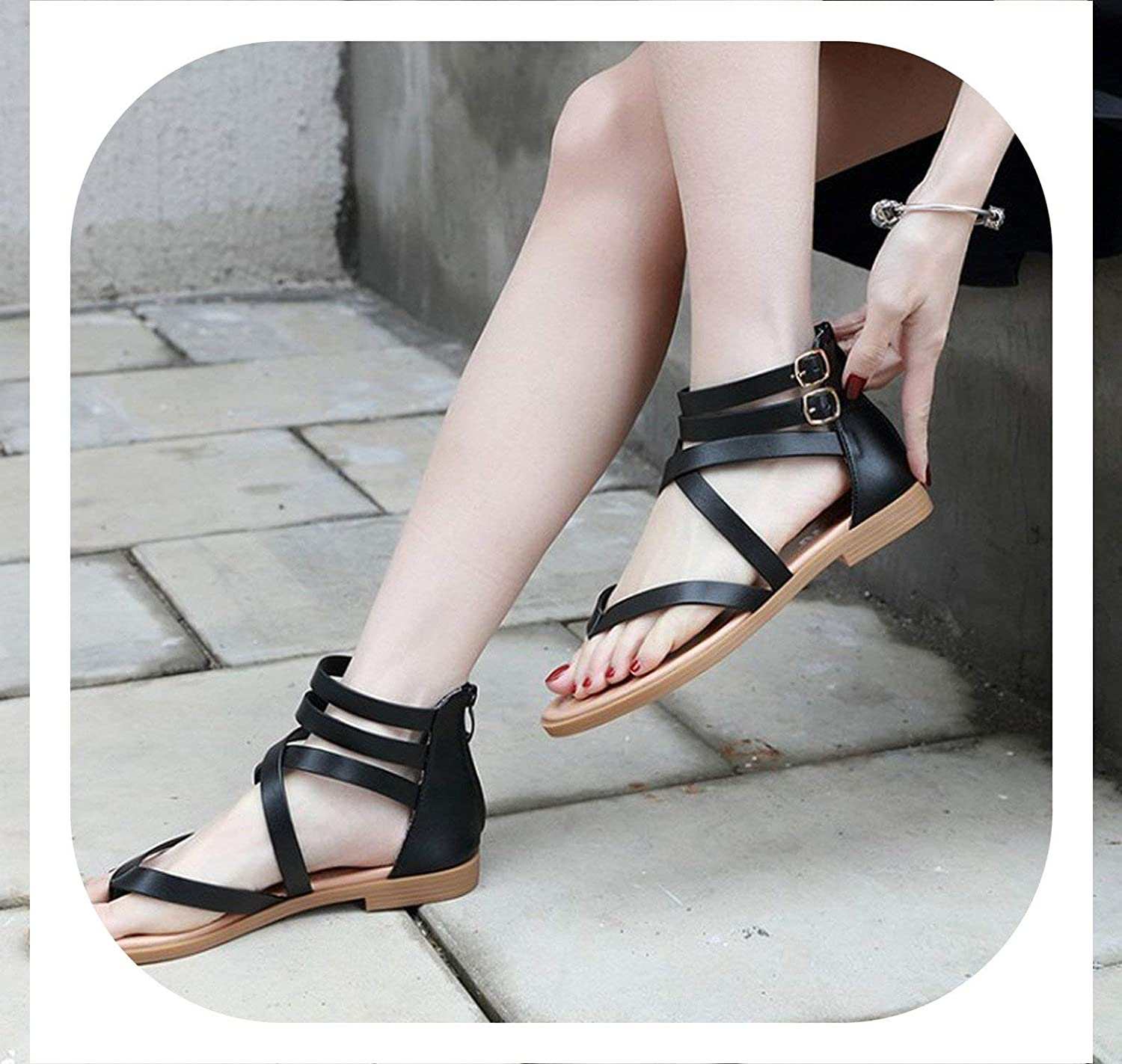 New face Women Gladiator Rome Sandals Clip Toe Ring Flat Heel shoes Ankle Strap Cross Strap Sandals Casual shoes Plus Size 40-42