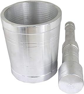 Prisha India Craft Parijat Handicraft Heavy Gauge Aluminium Mortar and Pestle or Khal Dasta Ural Set Mortar and Pestle Set...