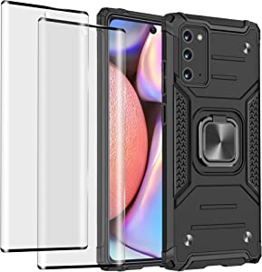 Compatible for Samsung Galaxy Note 20 5G Case with Screen Protector [ 2 Pack ], Tinabless Shockproof Kickstand Car Mount Protective Phone Case for Galaxy Note 20, Black