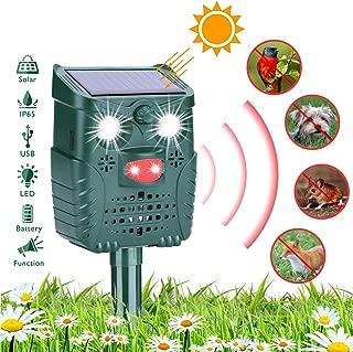 HEYSTOP Repelente para Gatos, Repelente ultrasónico para Animales Ahuyentador,con LED,Carga Solar Sensor de Movimiento y Luz Intermitente Detector para Gatos, Perros, Aves, Ardillas, Topos, Ratas
