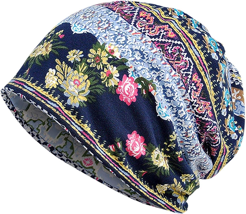 Skullies Beanies Cap Hats for Women Men, Vintage Pattern Floral Printed Unisex Sun Hat Brimless Headwrap