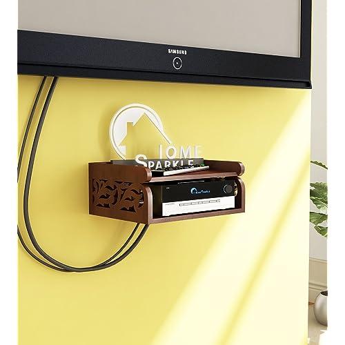 Home Sparkle Carved Engineered Wood Set Top Box Holder  WiFi-Modem Holder Suitable for LivingRoom/Bedroom-Brown (Designed by Craftsman)