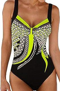 1e61af15661 Blugibedramsh One Piece Bikini Swimsuits for Women Print Retro Monokini Bathing  Suits Padded Sport Athletic Tummy Control Swimwear Yellow (S)