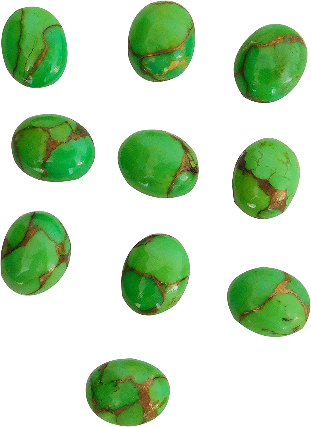 Natural safety Green Price reduction Copper Turquoise 10x14 Oval mm Jewelry Ma Cabochon