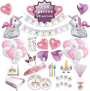 Unicorn Party Supplies set - 238 PCS - 18 Serves | Unicorn Decoration | Tableware | Favors | Balloons | Free Bonus