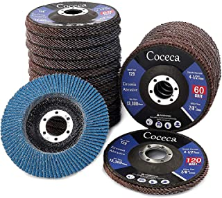 Coceca 22pcs Flap Disc Flap Wheel 4-1 2 Inches 40 60 80 120 Grits for Angle Grinder, Type 29 Zirconia Abrasive