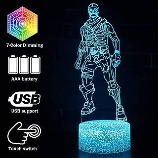 Fort-nited Skull Trooper USB Night Light Home Atmosphere Decorative 3D LED Lights Batteries Operated 7 Color 5V 3D Table Lamp for Child (Crack Skull Trooper)