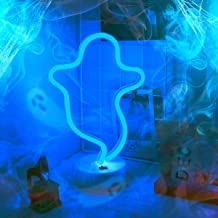 Hopolon Ghost Halloween Neon Night Light,LED Lamp Neon Decor for Wall,Fun Light for Kids Room Decoration Powered by Battery/USB(Blue)