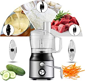 COSTWAY Electric 5-in-1 Professional Food Processer and Juicer Combo, 800W Powerful Motor with 2-Speed, Food Grade Material includes Wide Mouth Centrifugal Juicer, Smoothie Blender, Blender, Chopper Grinder, Meat Grinder and Dough Blender
