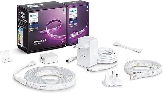 Philips Hue White & Col. Amb. Lightstrip Plus 2m Basis + Lightstrip Plus 1m Erweiterung, 16 Mio. Farben, steuerbar via App, kompatibel mit Amazon…