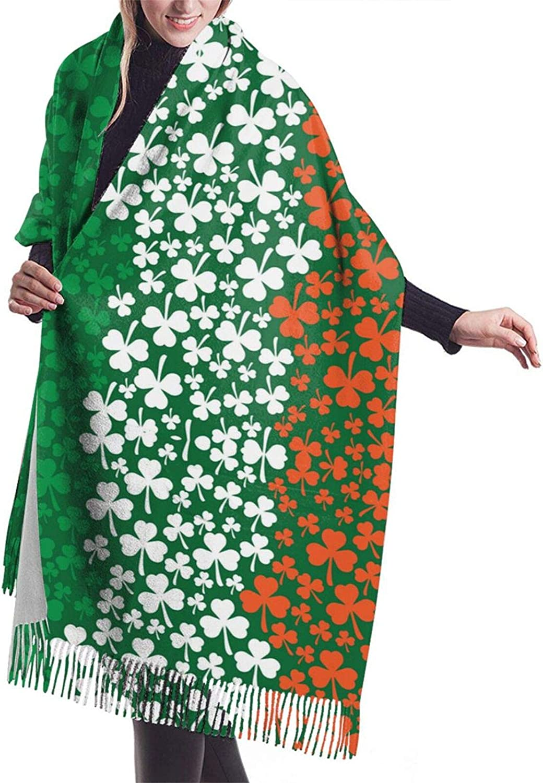 Womens Comfortable Cashmere Scarf,Irish Flag Shamrock Shawl Scarf,Premium Large Pashmina,Warm Wrap Blanket Solid Shawl Elegant Wrap