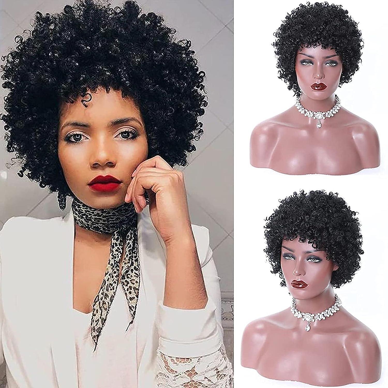 Max 57% OFF Cosplay Brazilian Human Hair Wigs Shipping included for Black Ki Afro Short Women
