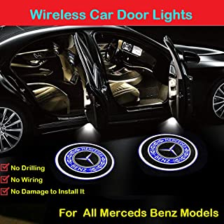 2Pcs Wireless Car Door LED Projector Light for Mercedes Benz All Models, Car Courtesy Welcome Logo Shadow Ghost Light, Wireless Car Door Led Projector Light