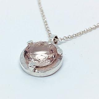 Prezioso ciondolo in argento sterling con preziosa Morganite da 2,45 carati (Vedi video). Pendente in argento sterling con...