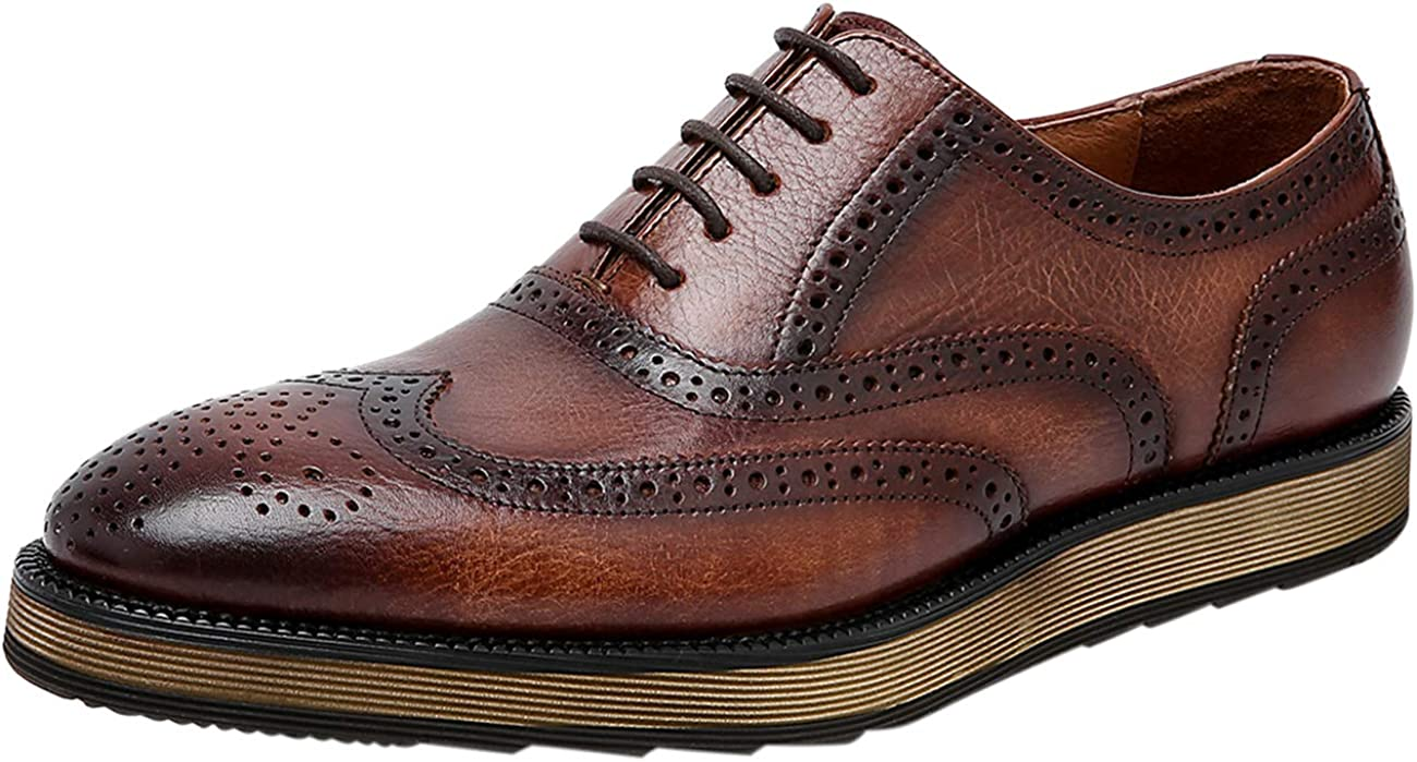 Mens Shoes Formal Leather Lace Classic Award-winning store supreme Wingtip Up Oxford Casual