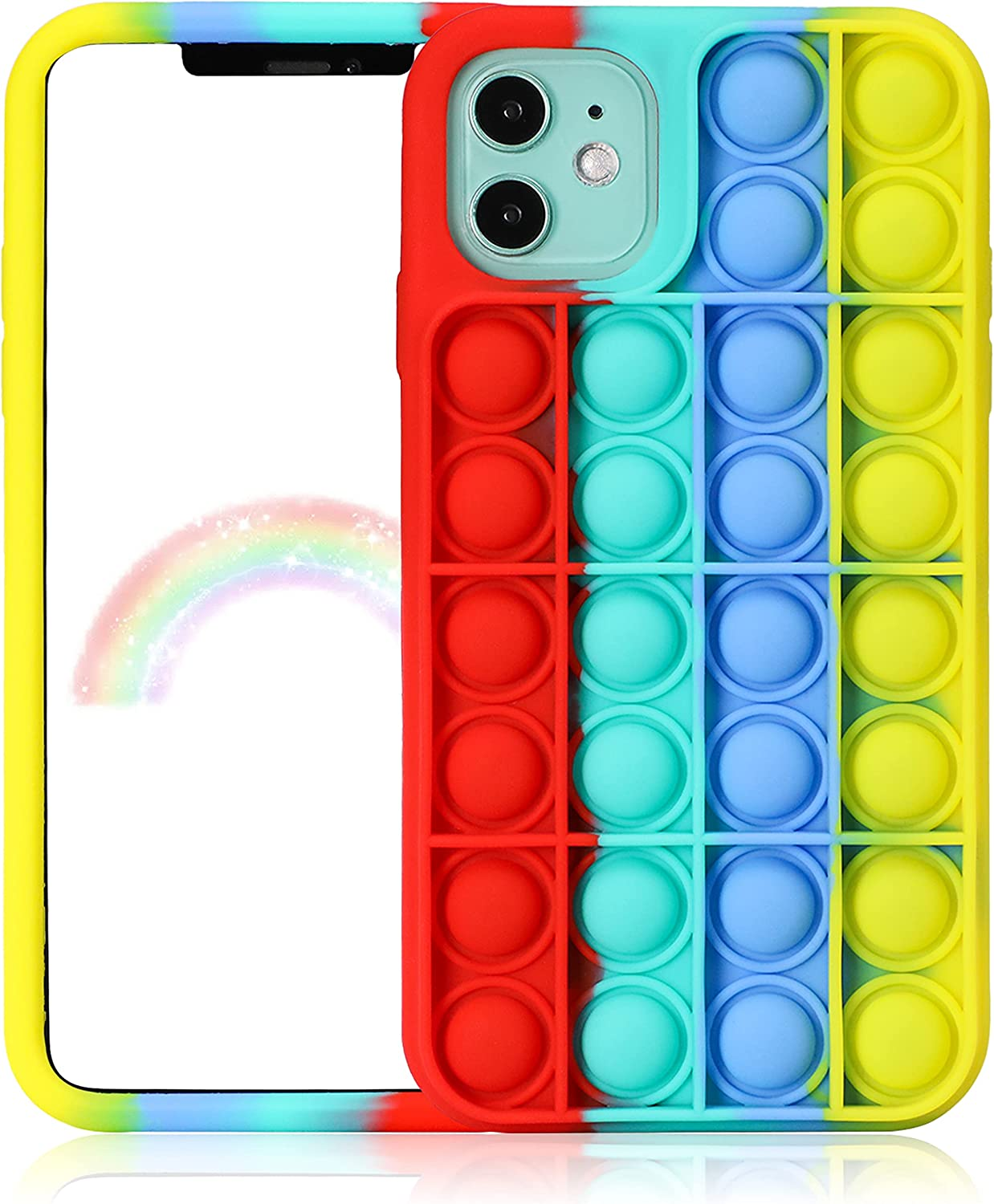 Jowhep for iPhone 12 Pro Max Case Cover Cases Silicone Cartoon Fun Funny Kawaii Cute Aesthetic Design Fidget Protective Unique for Girls Boys Women Teen-Red Green (for iPhone 12 Pro Max 6.7