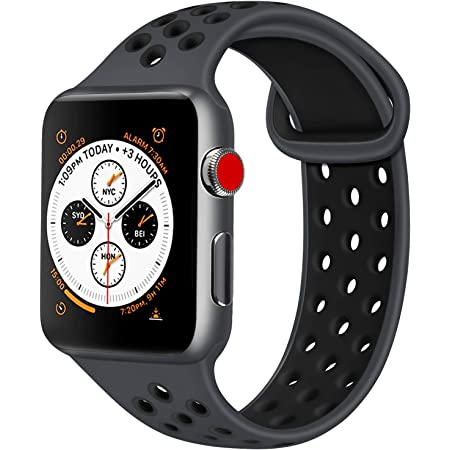 ATUP コンパチブル Apple Watch バンド 42mm 38mm 44mm 40mm、ソフトシリコン交換用リストバンド iWatch series 5/4/3/2/1に対応、iWatchは含まれていません (42/44 S/M, 03 暗灰色/黒)