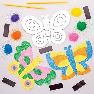Baker Ross- Kits de imanes de mariposas para decorar con arena (Pack de 6) - Actividad de manualidades infantiles